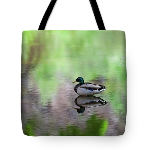 Tote Bag featuring the photograph Mallard In Reflecting Pool H58 by Mark Myhaver