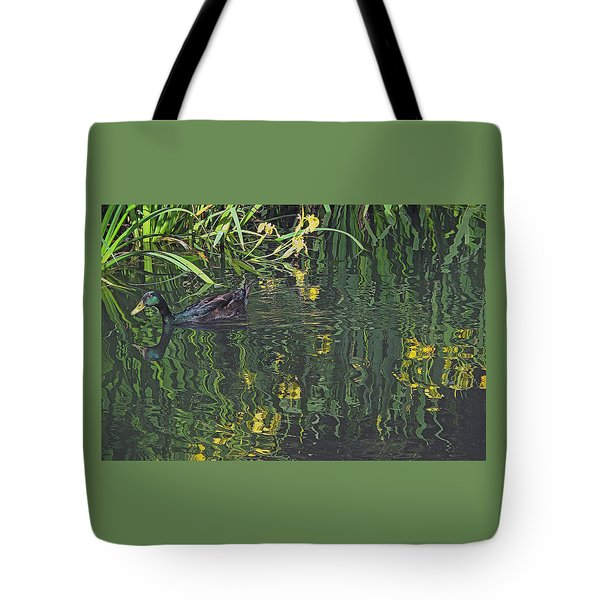 Tote Bag featuring the photograph Mallard In The Marsh by Suzy Piatt