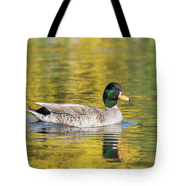 Tote Bag featuring the photograph Mallard In Yellow by Karen Van Der Zijden