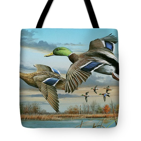 Mallards In Flight Tote Bag