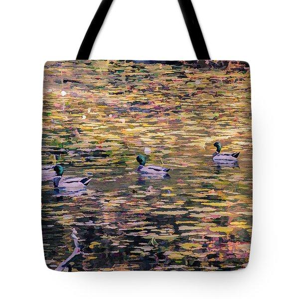 Mallards On Autumn Pond Tote Bag