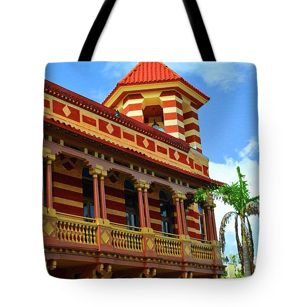 Tote Bag featuring the photograph Mallory Square Lines by Jost Houk