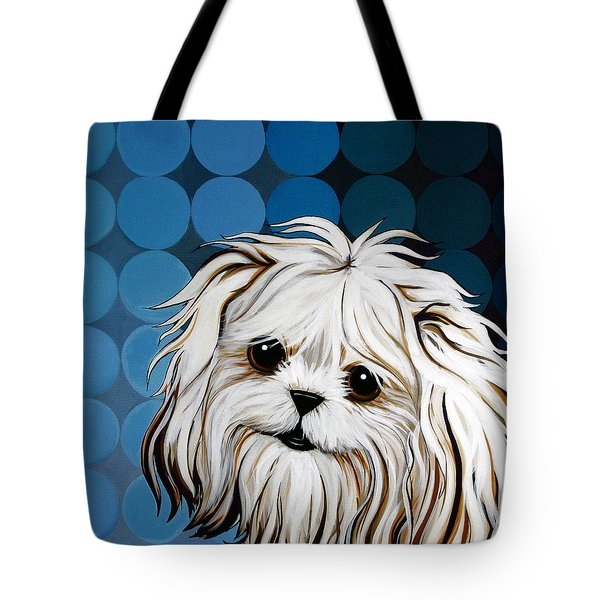 Tote Bag featuring the painting Maltese Magic by Leanne WILKES