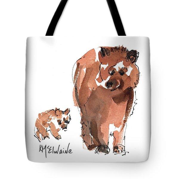 Mama And Baby Series Bear Tote Bag