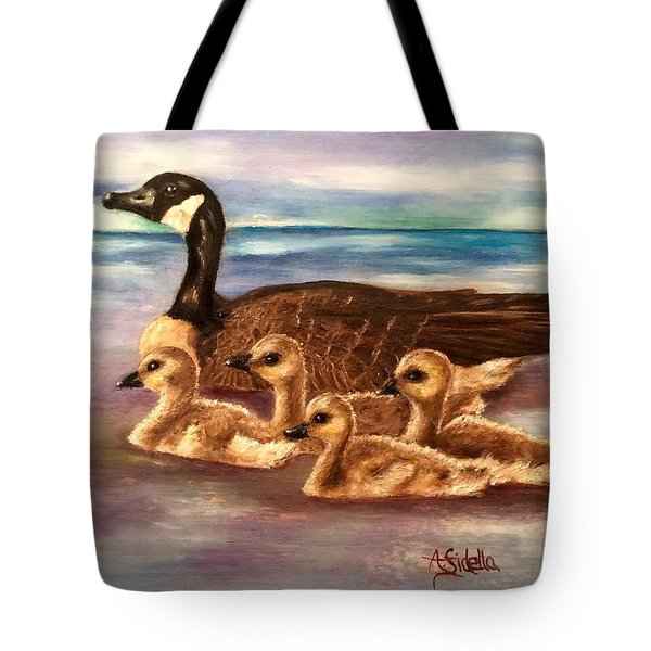 Mama And Ducklings Tote Bag