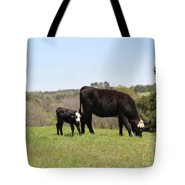 Mama Cow And Calf In Texas Pasture Tote Bag