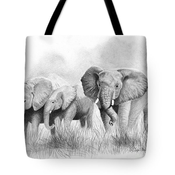 Tote Bag featuring the drawing Mama Says by Phyllis Howard