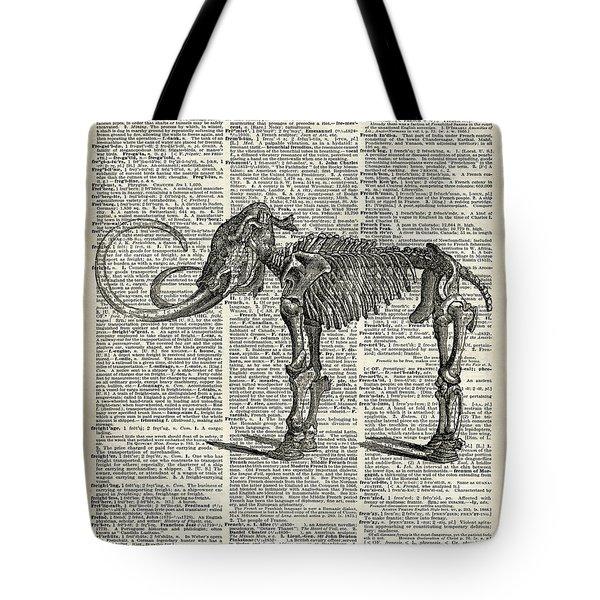 Mammoth Elephant Bones Over A Antique Dictionary Book Page Tote Bag