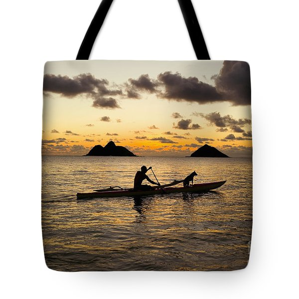 Man And Dog In Canoe Tote Bag by Dana Edmunds - Printscapes