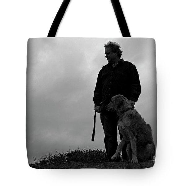 Man And His Dog In Silhouette Tote Bag by Lorraine Devon Wilke