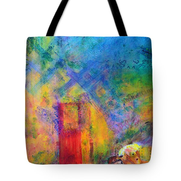 Tote Bag featuring the painting Man And Horse On A Journey by Claire Bull