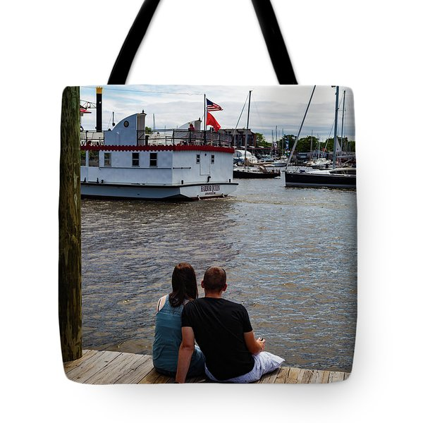 Man And Woman Sitting On Dock Tote Bag