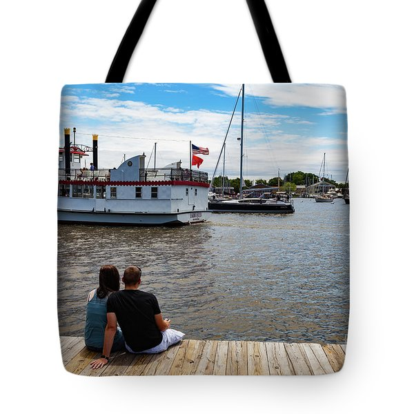 Man And Woman Sitting On The Dock Tote Bag