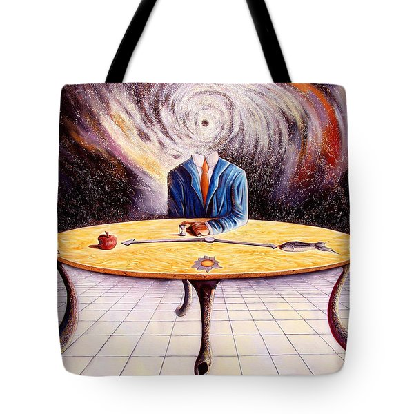 Man Attempting To Comprehend His Place In The Universe Tote Bag by Darwin Leon