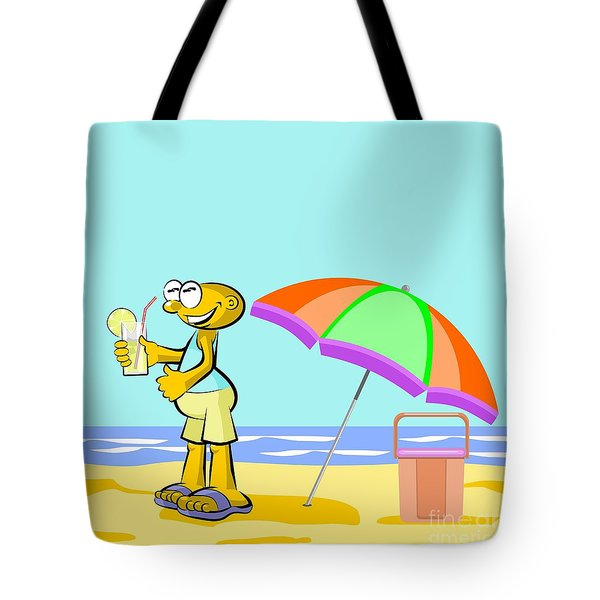 Man Drinking Lemonade On The Beach Tote Bag