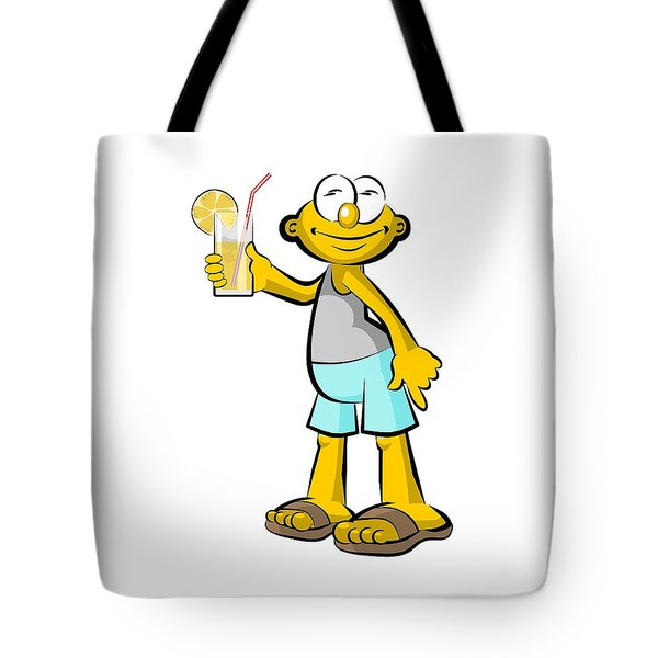 Man Drinking Orange Juice Tote Bag