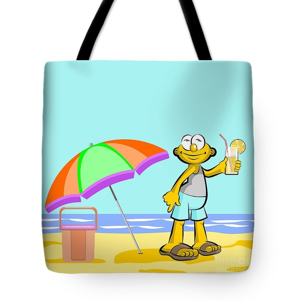 Man Drinking Orange Juice On The Beach Tote Bag