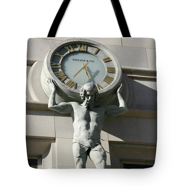 Man Holding Up Time Tote Bag