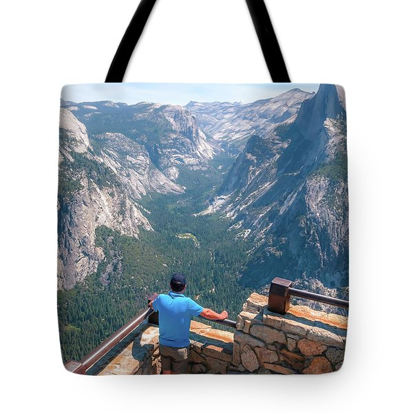 Tote Bag featuring the photograph Man In Awe- by JD Mims