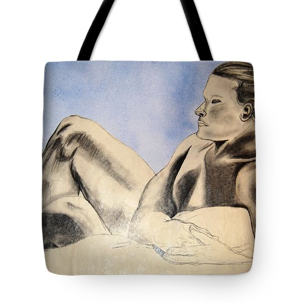 Man In Recline Tote Bag by Angela Murray