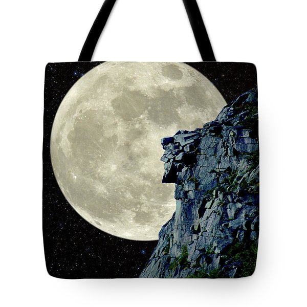 Tote Bag featuring the photograph Man In The Moon Meets Old Man Of The Mountain Vertical by Larry Landolfi