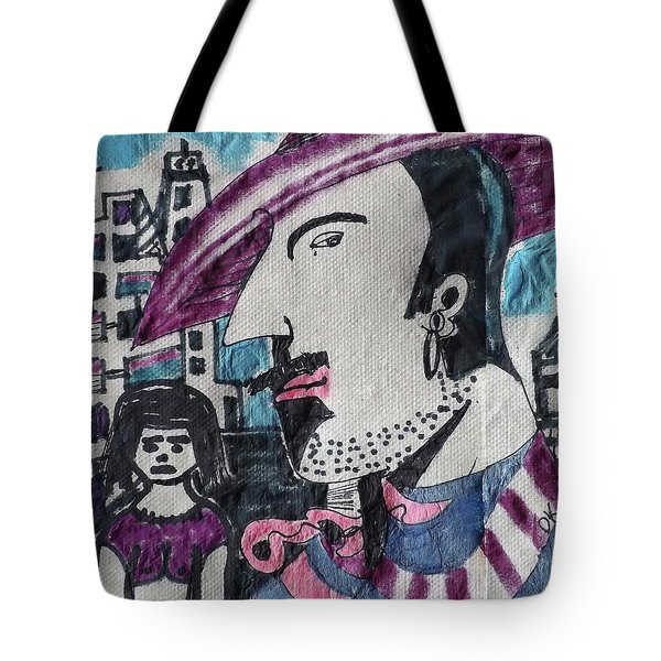 Man In The Striped Fedora Tote Bag