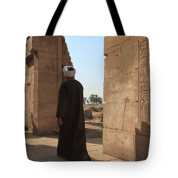 Tote Bag featuring the photograph Man In The Temple by Silvia Bruno