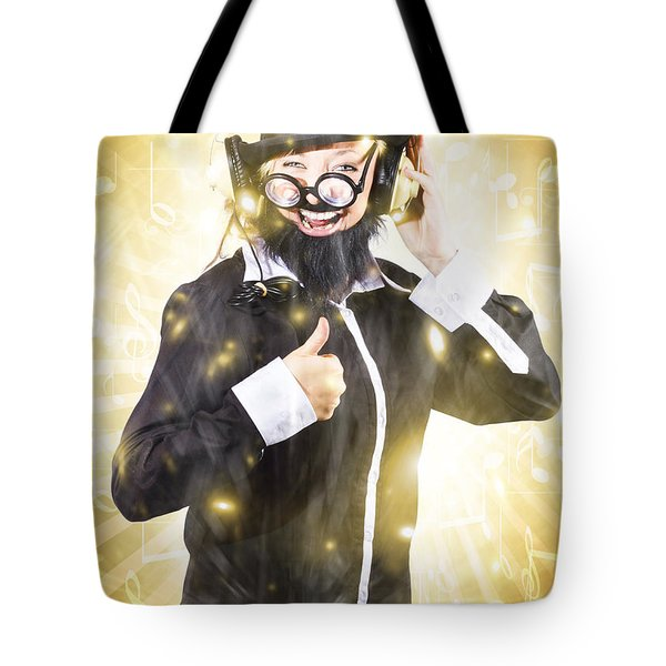 Tote Bag featuring the photograph Man Listening To Fm Radio Broadcast With Headphone by Jorgo Photography - Wall Art Gallery
