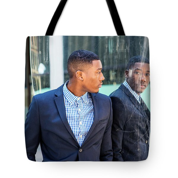 Man Looking At Mirror Tote Bag