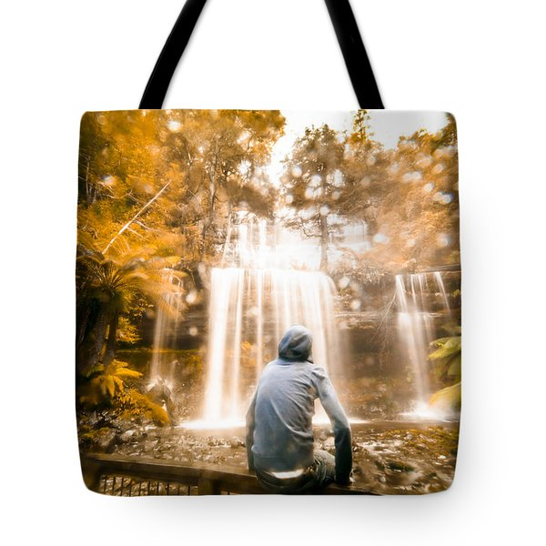 Tote Bag featuring the photograph Man Looking At Waterfall by Jorgo Photography - Wall Art Gallery