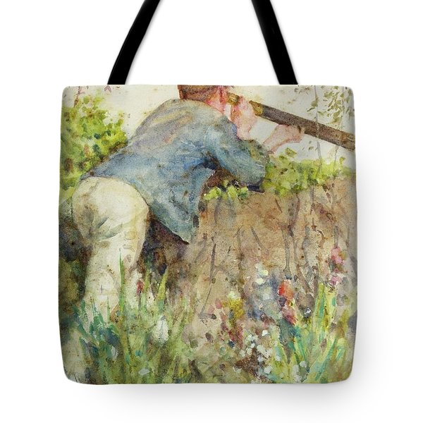 Tote Bag featuring the painting Man Looking Through A Telescope by Henry Scott Tuke