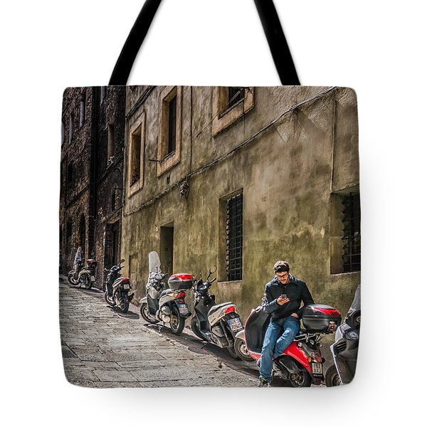 Man On A Scooter Siena-style Tote Bag