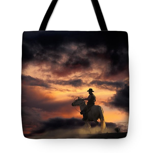 Man On Horseback Tote Bag by Ron Sanford and Photo Researchers