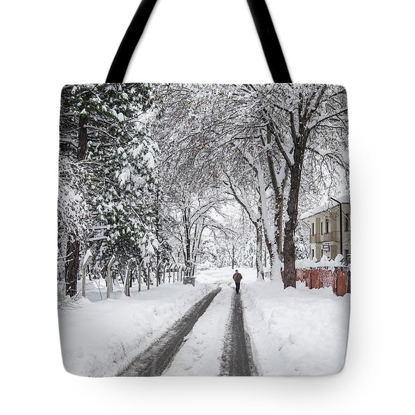 Man On The Road Tote Bag
