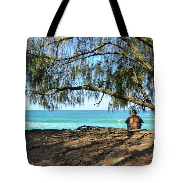 Man Relaxing At The Beach Tote Bag