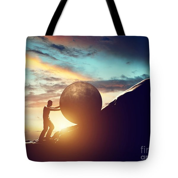 Man Rolling Huge Concrete Ball Up Hill Tote Bag