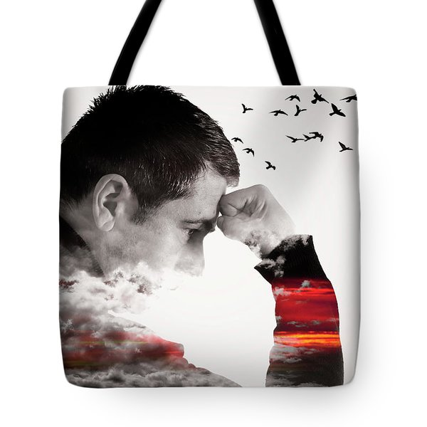 Man Thinking Double Exposure With Birds Tote Bag