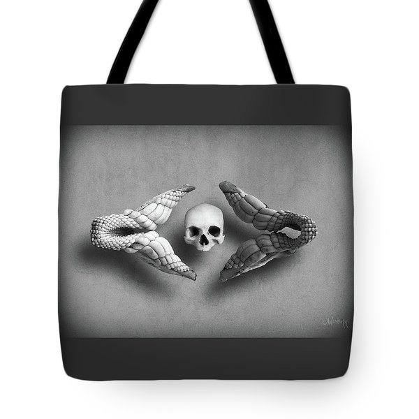 Tote Bag featuring the photograph Man Vs Shark by Joseph Westrupp