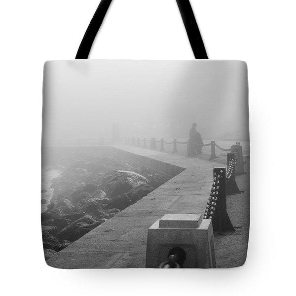 Man Waiting In Fog Tote Bag