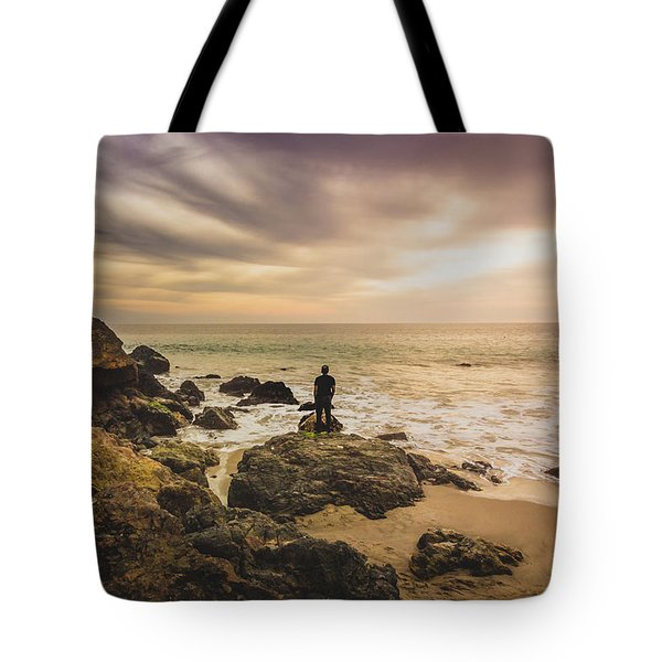 Man Watching Sunset In Malibu Tote Bag