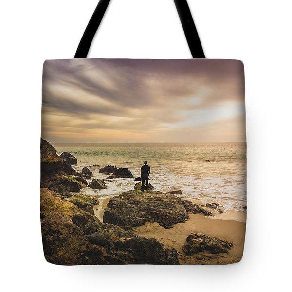 Man Watching Sunset In Malibu Tote Bag