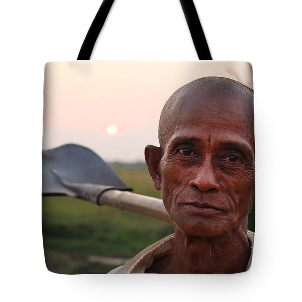Man With Shovel Tote Bag