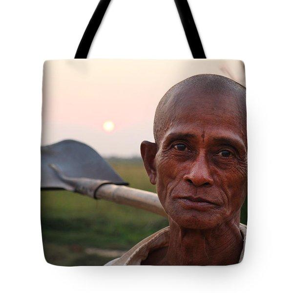 Man With Shovel Tote Bag