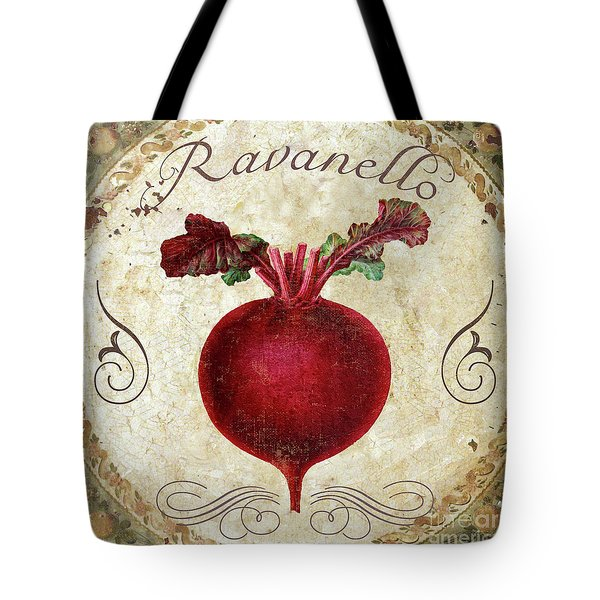 Mangia Radish Tote Bag by Mindy Sommers