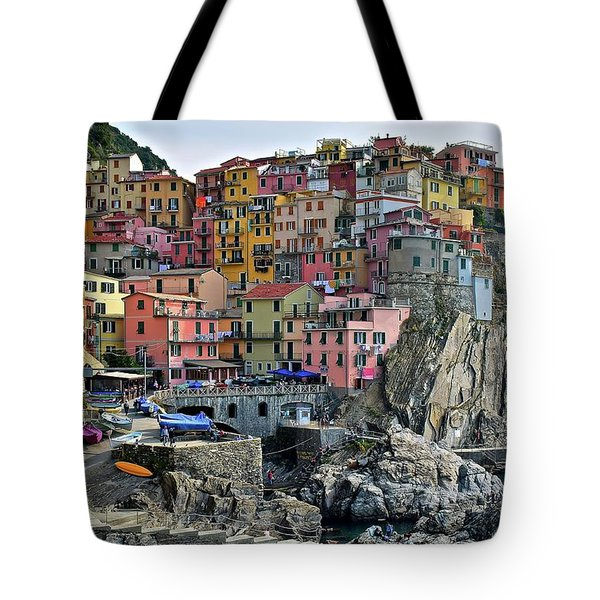 Tote Bag featuring the photograph Manarola Cinque Terre Italy by Frozen in Time Fine Art Photography