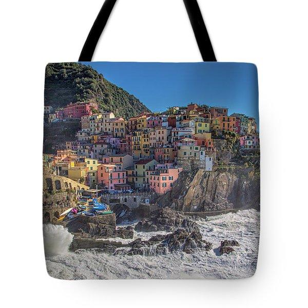 Manarola In Cinque Terre  Tote Bag