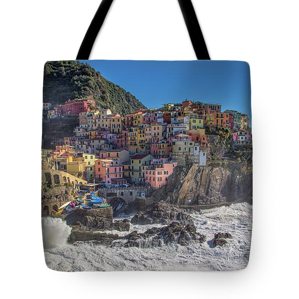 Tote Bag featuring the photograph Manarola In Cinque Terre  by Cheryl Strahl