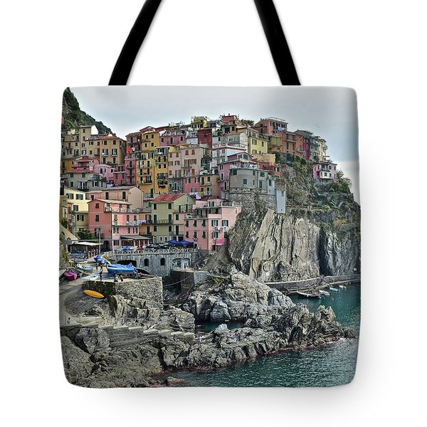 Tote Bag featuring the photograph Manarola Version Three by Frozen in Time Fine Art Photography