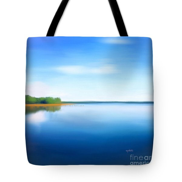 Tote Bag featuring the painting Manasquan Reservoir by Catia Lee