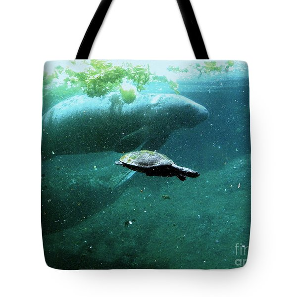 Tote Bag featuring the photograph Manatee And Sea Turtle by Terri Mills